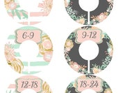 HUGE SALE 6 Precut Baby Closet Dividers, Baby Shower Gift, Floral, Pink, Mint, Gold, Flowers, Nursery Decor Clothing Baby Clothes