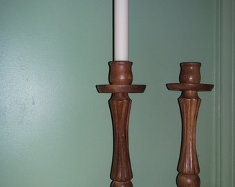 Antique French wooden candle sticks holders