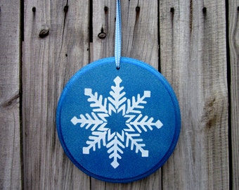 Snowflake Sign, Blue, Sparkly, Painted Wood, Holiday Decor, Door Hanger, Round Wood Sign, White Snowflake, Christmas, Winter Sign