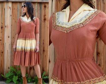 Vintage 50s ROCKABILLY Country Patio Fiesta SQUAW Dress S