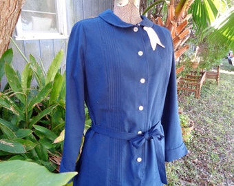 50s Hopkins Public Health Uniforms Baltimore Md Ladies Blue polyester cotton mix dress Vintage size 12 made in USA