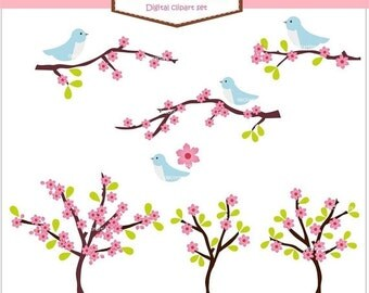 ON SALE Digital clipart birds, flowers,flower branch clipart, birds n sakura blue and pink, card, scrapbook, INSTANT Download clipart