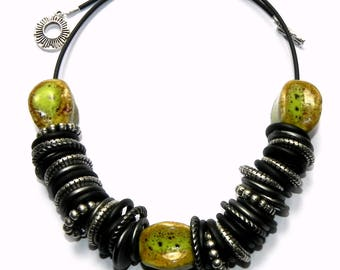 Black and Chartreuse Green Necklace - Ceramic and Lucite beads - Statement Necklace