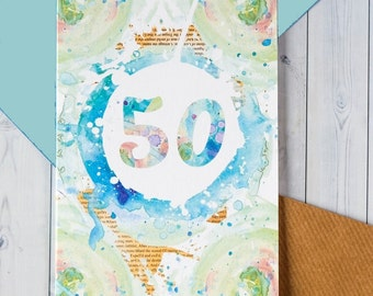 SALE 50th Birthday Card - 50th Anniversary Card - Card for Her - Card for Him - Watercolour Card - Blank Cards - Card with Envelope - 209