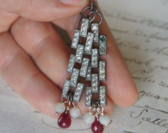 Antique Assemblage Earrings with Vintage Rhinestone Links, Rubies and Mother of Pearl