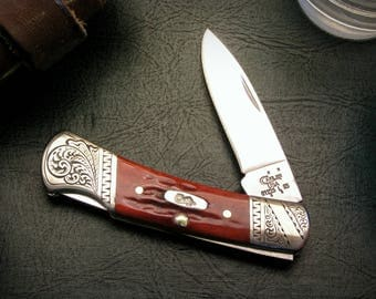 Personalized Engagement Gift for Him Fiance, Engraved Case XX Lockback Pocket Knife Men, Groom, Unique, Bride Gift to Groom