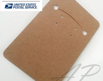 Free Shipping via Priority Mail 600 pcs of Blank Earrings Card in Brown Kraft Paper for Accessories Jewelry