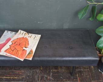 Mid Century Bench Low & Long Black Vinyl Bench / Hollywood Regency Seating