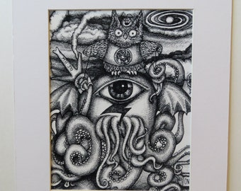 Cthulhu Owl Black Hand All Seeing Octopus MH370 Pen & Ink Print Matted 11x14