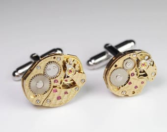 Steampunk Cufflinks Vintage Baume and Mercier Luxury Gold Watch Movement Mens Gear Cuff Links by Steampunk Vintage Design