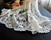French Chantilly Lace Remnant Ivory Scalloped