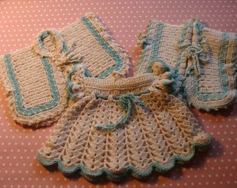 3 Adorable Vintage Hand Crochet Potholders ~ Dress & More