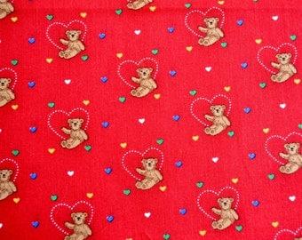 Vintage Fabric - Teddy Bear Hearts - 43 x 42