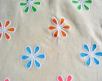 Vintage Fabric - Flocked Mod Flowers on Tan Broadcloth - 45 x 56