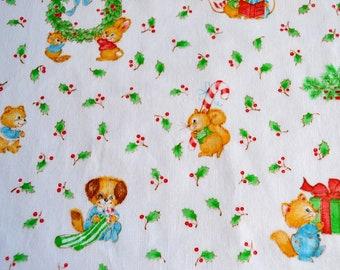 Vintage christmas fabric | Etsy