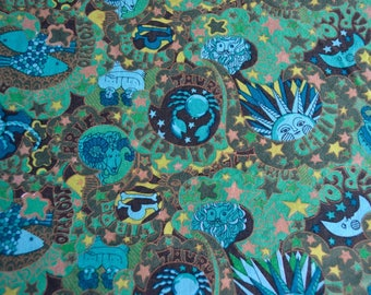 Vintage Fabric - Marcus Blue Green Zodiac Signs - 42 x 20