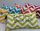 "Zigzag pillow, 18 x 12"" inspirational pillow, Red and white zig zag chevron toss lumbar pillow zigzag"
