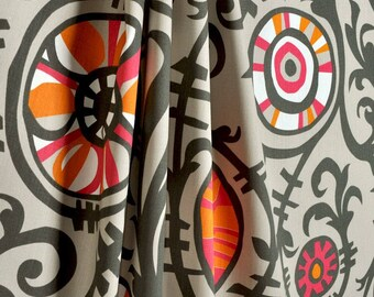"Fabric shower curtain, Suzani vine, sherbet twill,  72"", 84"", 90"", 96"", 108"" custom sizes available"