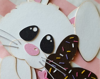 Adorable Easter Bunny with Chocolate Bunny Lollipop Embellishment for Cards or Scrapbooking