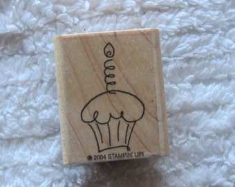 Stamp for Scrapbooking or Card Making- Cupcake with Candle-Rubber Stamp