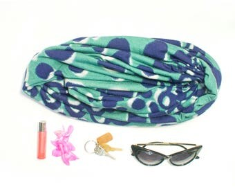 Gifts for Girls Infinity Scarf Soft Jersey Navy and Green Spotted Print Winter Scarf