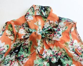Secretary Blouse Orange Chiffon Top Cat Print Blouse Sleeveless Shirt Cute Print Summer Wear