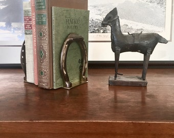 Vintage Pair of Brass Horse Shoe Horseshoe Bookends