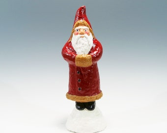 Traditional Old World Hand Painted Chalkware Santa Cast Using an Antique German Mold Traditional Old World Santa Chalkware Santa