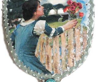 Hand Mirror, Bath and Beauty, Makeup Mirror, Up-cycled Vintage Mirror, Handmade Art Mirror, Vanity Mirror, Decoupaged Hand Mirror, Gift Item