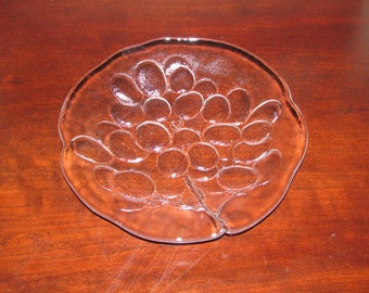 Beautiful glass fruit plates with molded grape design, REDUCED