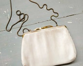 Vintage Accessories. Vintage Handbag. Vintage Shilton Bag.  White Evening Bag. White. Gold. Soft Rayon Handbag. Snake Chain Shoulder Strap.
