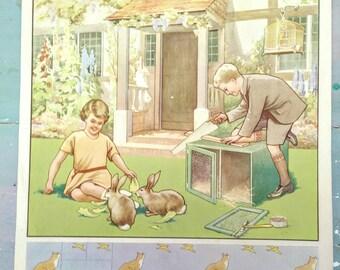 Vintage Children's Poster. Vintage MacMillan poster. Vintage 1930s Poster.  Original Print. Rabbit Hutch. Garden. Rabbits. Children's decor.