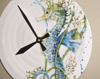 Seahorse Wall Clock, 9 Inch SILENT Ceramic Blue Seahorse Clock, Coastal Life Clock, Beach House Clock - 2264