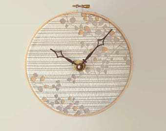 7.5 Inch Fabric Wall Clock in Beige and Tan Tones, SILENT Wall Clock, Embroidery Hoop Clock, Botanical Clock - 2363
