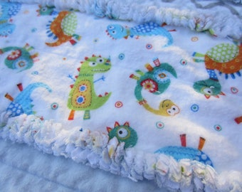 On Sale...please read announcement....BABY DINOSAUR CRIB Quilt Handmade Flannel Rag