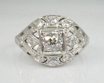 Antique Old European Cut Diamond Engagement Ring Set In Platinum - Appraisal Included