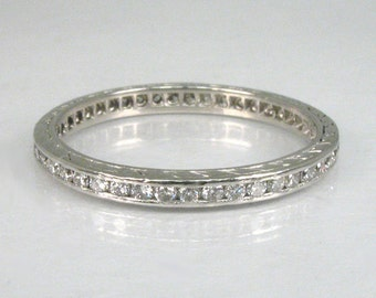 Vintage Diamond Platinum Eternity Band – 0.45 Carats Diamond Total Weight- Appraisal Included