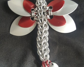 Red and Silver Chainmaille Dragonfly