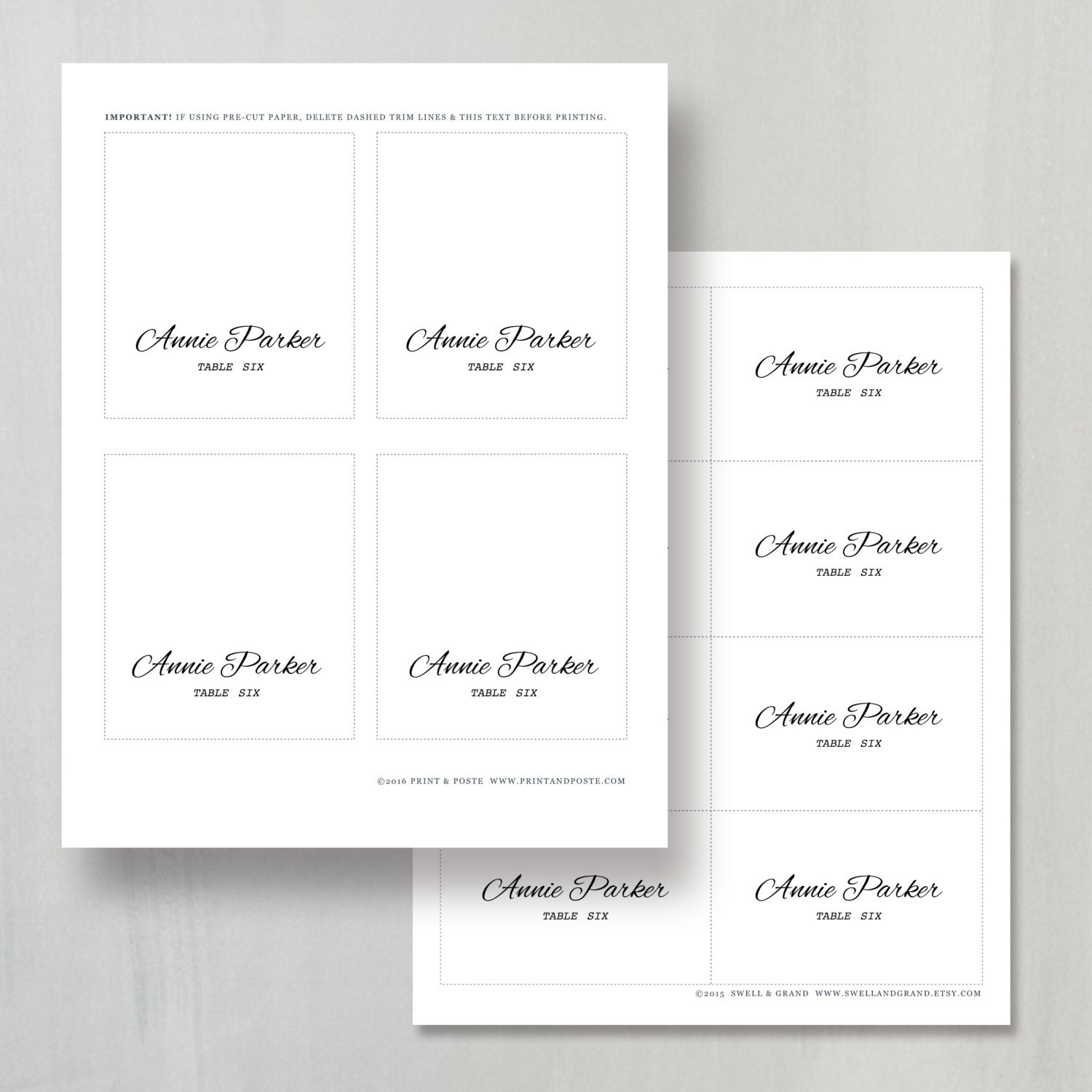 Printable place card template instant download calligraphy for Table placement cards templates