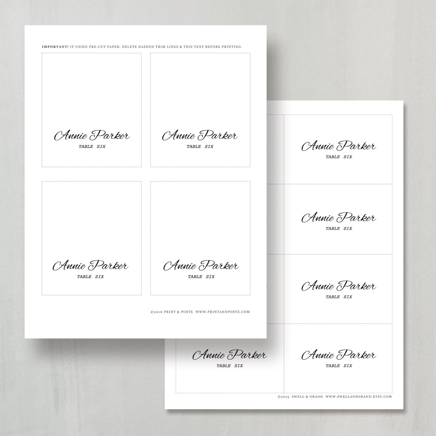 Printable place card template instant download for Free place card template