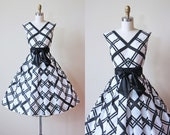 1950s Dress - Vintage 50s Dress - Black White Cotton Voile Party Dress w Wide Satin Bow Belt S - Ma Chérie Sundress