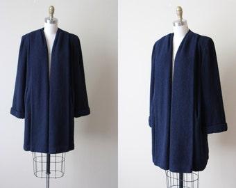 1940s Swing Coat - Vintage 40s Navy Boucle Wool Swagger Coat w Shoulder Pads M L - Oregon City Coat