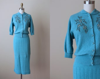 1950s Dress Set - Vintage 50s Hen's Egg Blue Wool Knit Sweater and Skirt S M - Ice Castle Sweater Set