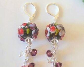 Lampwork Flowered Lampwork  and Crystal Beaded Sterling Silver Earrings