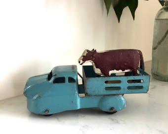 Toy Truck Vintage Blue Hauling Folk Art Cow Looking for a Farm