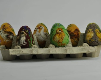 Needle felted Easter eggs. Easter collection. Wool painted Easter eggs by Daria Lvovsky