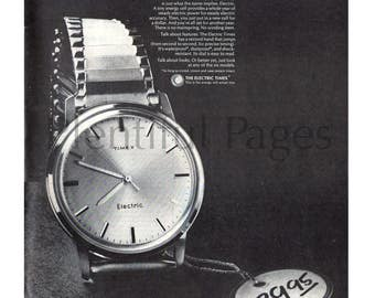 1966 Timex Watch Vintage Ad, Electric Watch, Advertising Art, Men's Watch, 1960's Men's Fashion, 1960's Timex, Great for Framing or Collage.