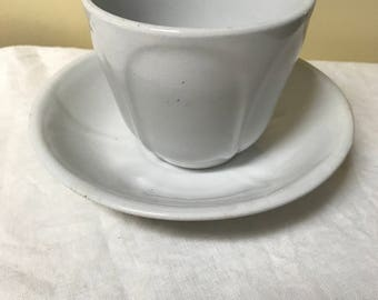 White Ironstone Handless Cup and Saucer J M Meir & Son England English Ironstone Handleless Iron Stone Country Cottage Decor Rustic Prairie