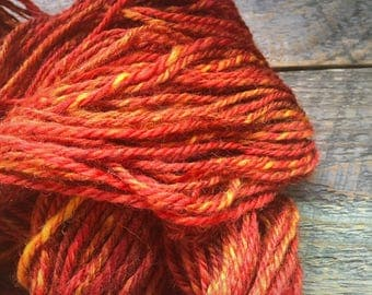 Orange handspun corriedale wool yarn - hand spun - Autumn's Splendor - Handspun art yarn - yarn shop - autumn trends - orange yarn
