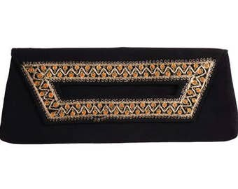 Vintage 1950s Clutch Purse - Yemenite Israel  - Hand Embroidered - Gold Filigree Metallic Embroidery